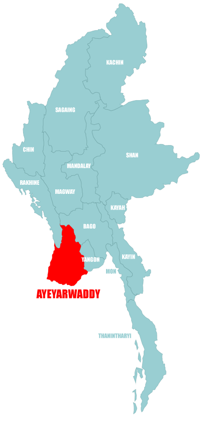 Map Ayeyarwaddy-Division in Myanmar