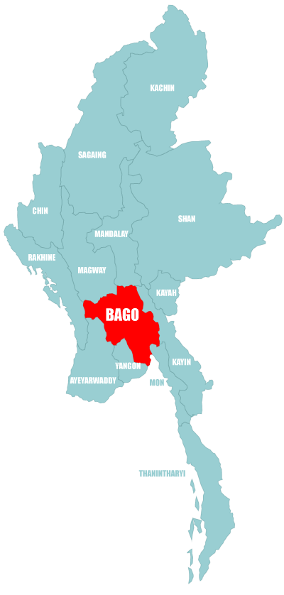 Map Bago Division in Myanmar