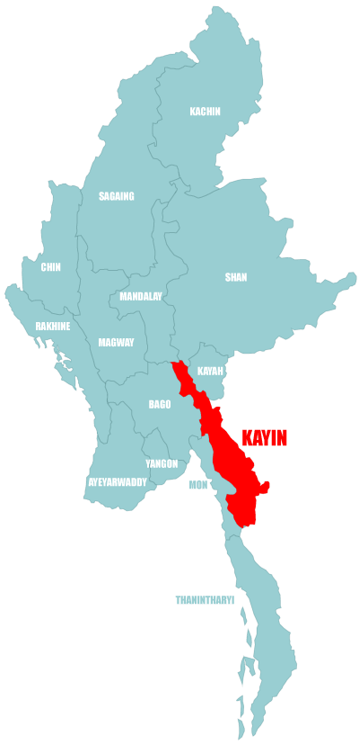 Map Kayin State in Myanmar